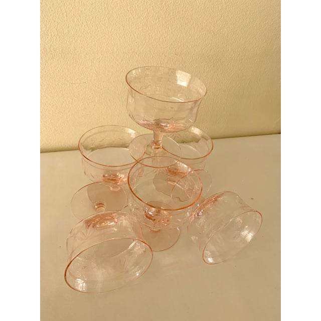 Blush Pink Etched Set of Six Vintage Champagne Cocktail Glasses For Sale - Image 10 of 13