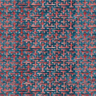 Ferran Ming Fret Fabric, 2 Yards, Navy in Belgian Linen For Sale
