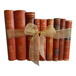 Decorative Leather Books Set of 9 Swedish Marbled Boards For Sale