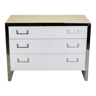 Vintage White Lacquered and Chrome Dresser For Sale