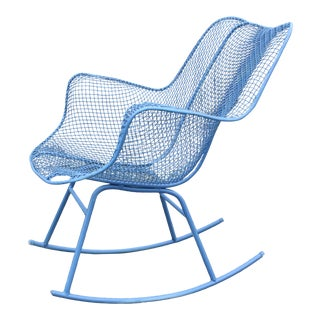 1960s Vintage Blue Russel Woodard Sculptura Rocking Chair For Sale