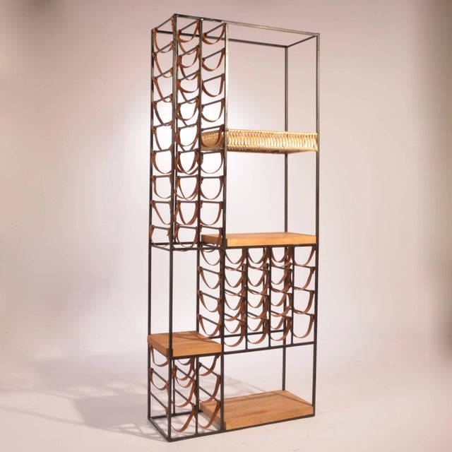 Shaver Howard Arthur Umanoff Leather and Iron Wine Rack For Sale - Image 4 of 8