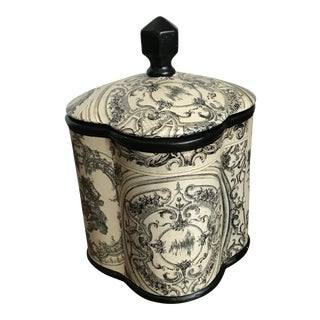 1970s Vintage Lidded Black and Cream Toile Biscuit Jar For Sale