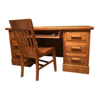 """Vintage Solid Oak Traditional """"Executive"""" Desk & Chair For Sale"""