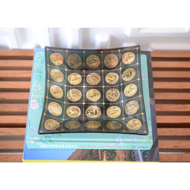 Hollywood Regency 1960s Mid Century Gold Coin Motif Smoked Glass Catchall Dish Tray For Sale - Image 3 of 9