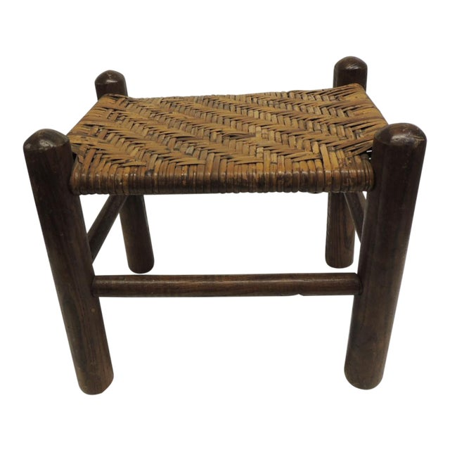 Vintage Country Wood and Rattan Woven Seat with Four Legs Adirondack Style For Sale
