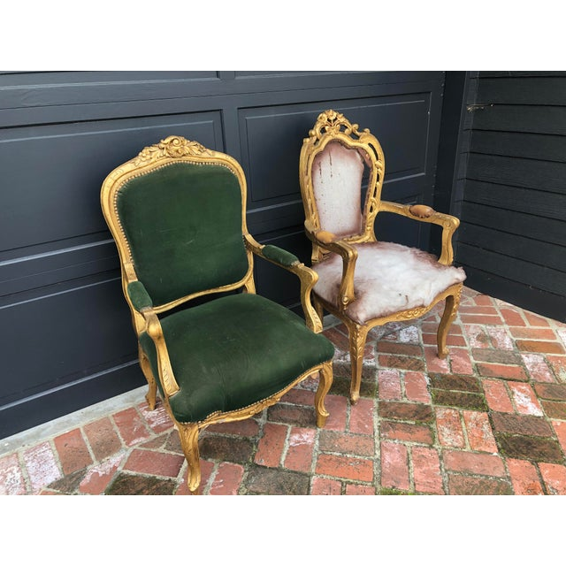 Antique Gold Painted Louis Style Bergere Arm Chair For Sale In Los Angeles - Image 6 of 7