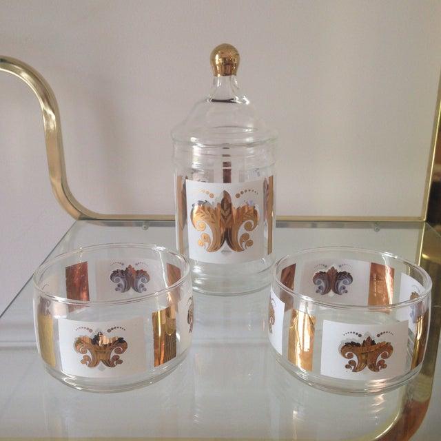 Vintage Fleur De Lis Jar and Bowl Set - Image 2 of 4