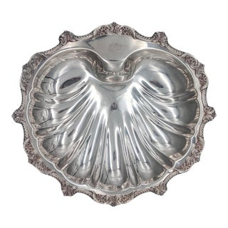 """Vintage Silverplate Poole """"old English"""" Clam Shell Platter/ Bowl For Sale"""