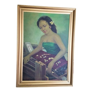 Bali, Indonesia, Mid Century Portrait of a Woman Weaving With Frangepani Blossom in Hair For Sale