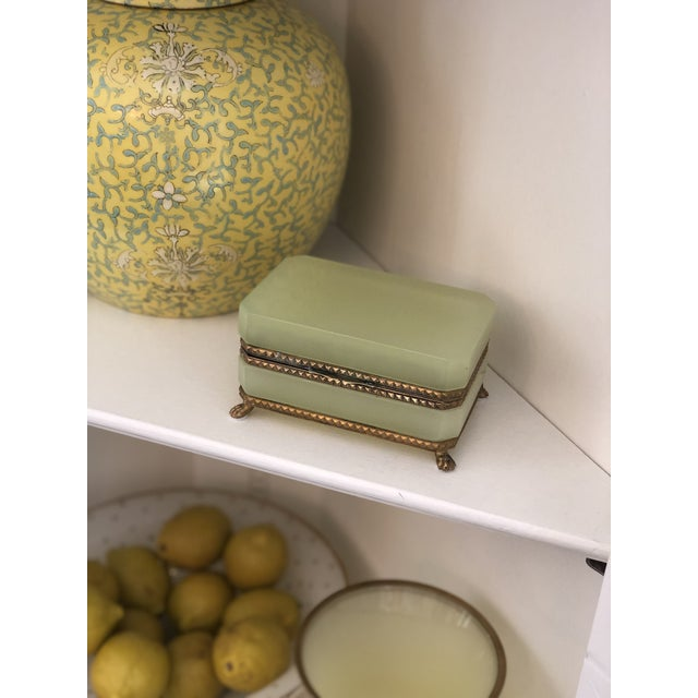 Yellow-Green Opaline Glass Box With Brass Trim and Feet For Sale - Image 6 of 9
