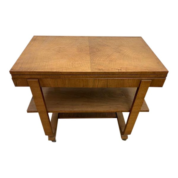 American Deco Side Table With Pivoting Fold-Out Top For Sale