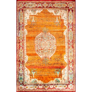 Traditional Floral Gold Silk Oushak Rug - 6′2″ × 9′7″ For Sale