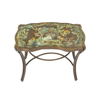 "Pair of ""Madame Pompadour"" Enameled Bronze Tables by Philip and Kelvin LaVerne For Sale"