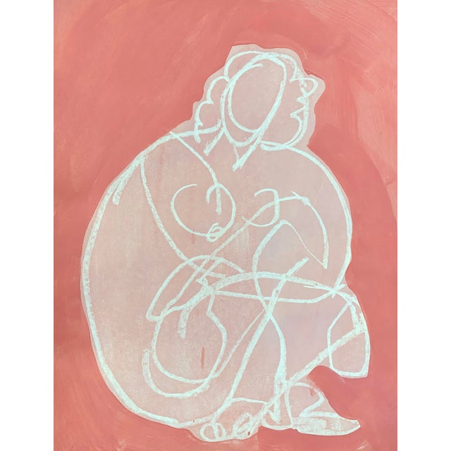 Figurative Drawing Ali in Pink II 12x16 For Sale