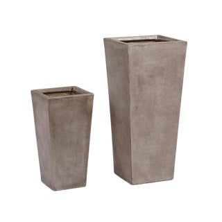 Cement Planter Set of Two For Sale