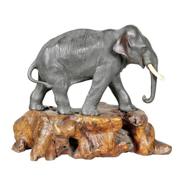 Japanese Bronze Elephant on Burl Wood Base For Sale - Image 4 of 10