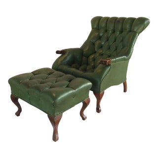 Mid Century Green Leather Spoon Chair and Ottoman For Sale