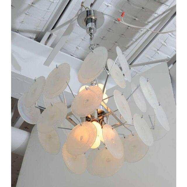 Italian Vistosi Iridescent Disc Chandelier For Sale - Image 3 of 10