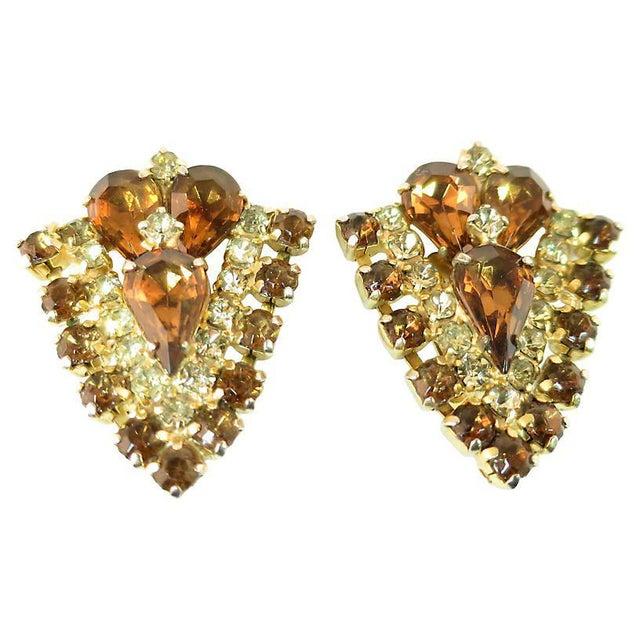 Mid-Century Modern Topaz Crystal Chevron Earrings, 1950s For Sale - Image 3 of 7
