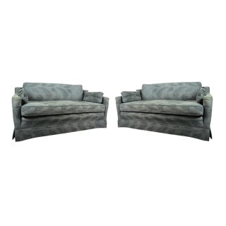 1970s Mid-Century Modern Gray Upholstered Loveseats - a Pair For Sale