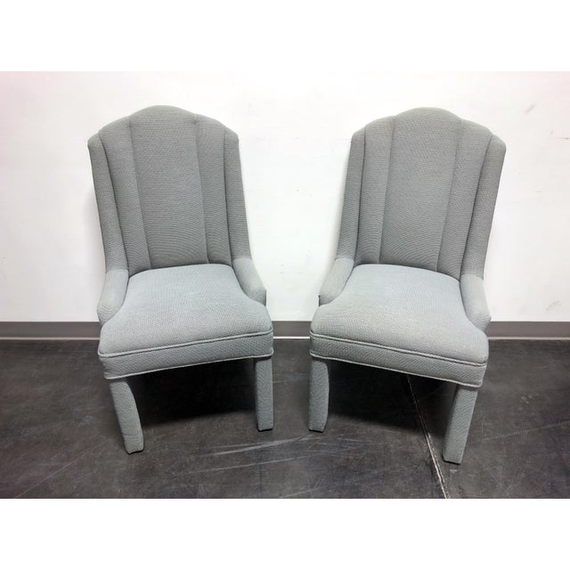 High quality pair of Parsons chairs. Covered in a silver sage, or grey-green fabric. Maker and age unknown. Similar...