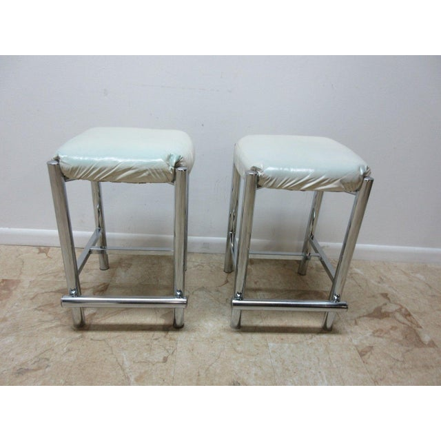 Mid-Century Cal Style Chrome Counter Bar Stools - A Pair For Sale - Image 11 of 11