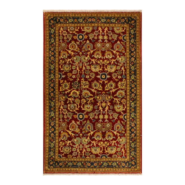 Istanbul Sidney Red/Teal Turkish Hand-Knotted Rug -3'2 X 5'1 For Sale