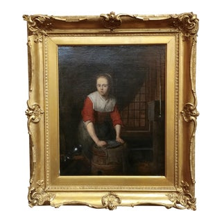 Domenicus Van Tol -Maiden Cleaning Silverware-17th Century Flemish Oil Painting