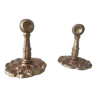 1920s Eastlake Brass Towel Bar Ends - a Pair For Sale