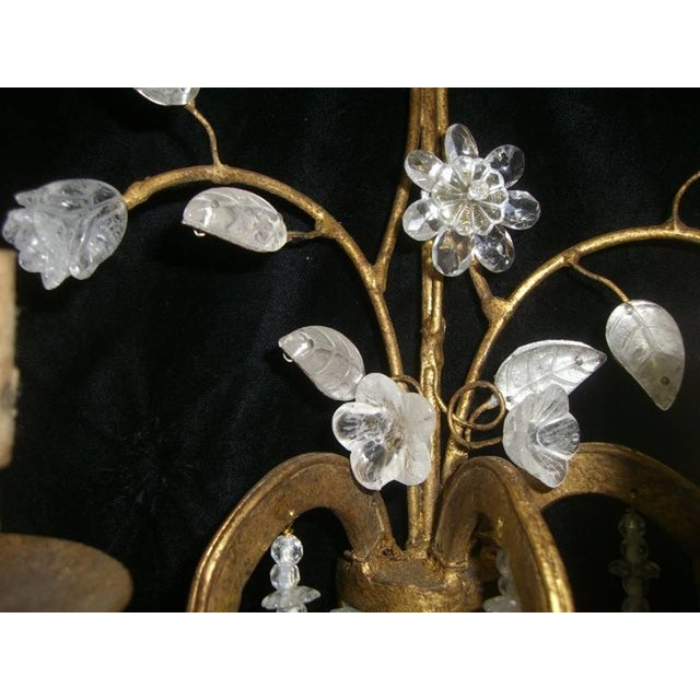 Rock Crystal and 23K Gold Leaf Two-Light Sconces - a Pair For Sale - Image 9 of 11