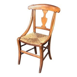 English Child's Chair with Rush Seat For Sale