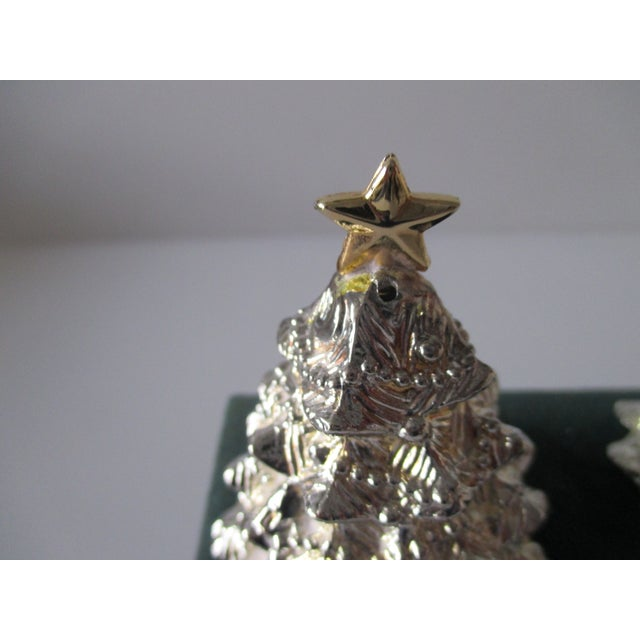 Boho Chic Vintage Christmas Trees Silver Plated Salt and Pepper Shakers Set For Sale - Image 3 of 6