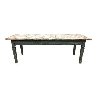 19th C Italian Painted Coffee Table With Faux Marble Top For Sale