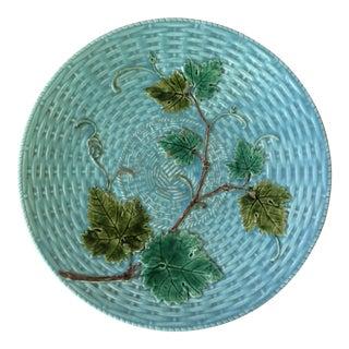 1890 Antique Majolica Sarreguemines Vine Leaves Plate For Sale