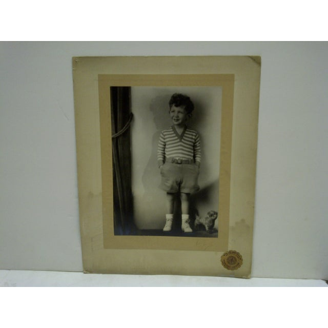 American C. 1930 Little Boy Standing Black & White Photograph by Vincent Evans For Sale - Image 3 of 6