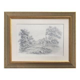 19th Century English Graphite Landscape Drawing For Sale