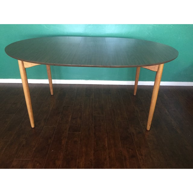 Mid Century Modern Oval Table With Leaf - Image 9 of 11