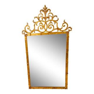Palladio Hollywood Regency Gilt Iron Mirror For Sale