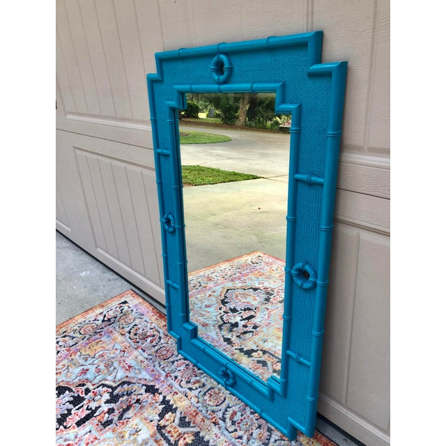 Shabby Chic Vintage Faux Bamboo Mirror For Sale - Image 3 of 11