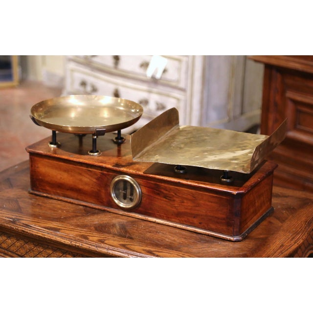 French 19th Century French Napoleon III Walnut and Brass Scale With Set of Weights For Sale - Image 3 of 12