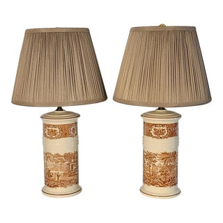 English Transferware Lamps With Pleated Shades. For Sale