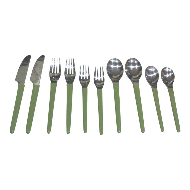 1970's Stainless Modern Flatware - 12 Pieces - Image 1 of 7