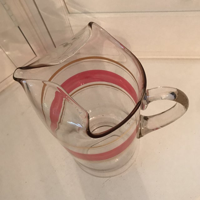 Glass Cranberry and Gold Tall Glass Pitcher