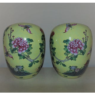 Chinese Yellow Porcelain Birds of Paradise & Butterflies Ginger Jars - a Pair Preview