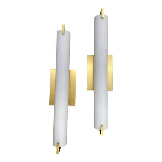 Frosted Glass Gold Accent Wall Sconces - a Pair For Sale