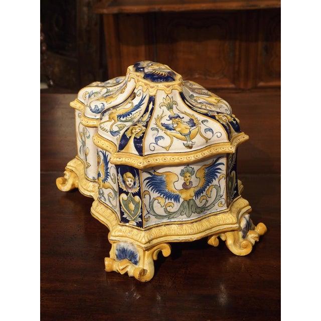 Ceramic 19th Century Italian Renaissance Style Majolica Box For Sale - Image 7 of 12