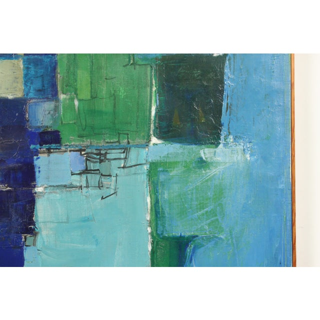 Abstract Mid-Century Blue Square Abstract Tommy Hansen For Sale - Image 3 of 10