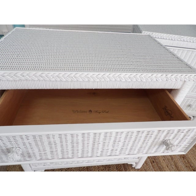 White Henry Link For Lexington Furniture Three Drawer Wicker Chests-a Pair For Sale - Image 8 of 9