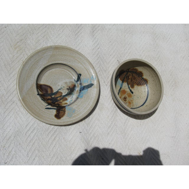 Pottery Bowl & Plate Serving Set - Image 5 of 5
